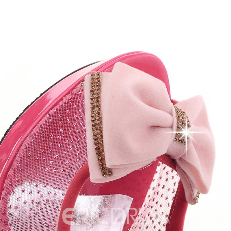 Ericdress Bowknot Mesh Platform Pumps with Rhinestone