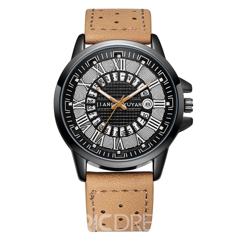 Ericdress JYY Leather Belts Calendar Men Watch