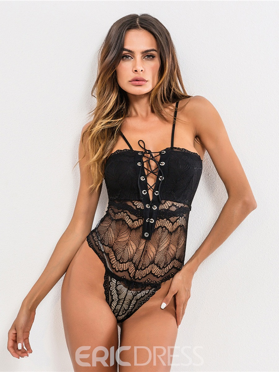 c0ab192fea0 Ericdress Front Strap Tight Wrap Hollow Sexy Teddy Bodysuit 13295563 ...
