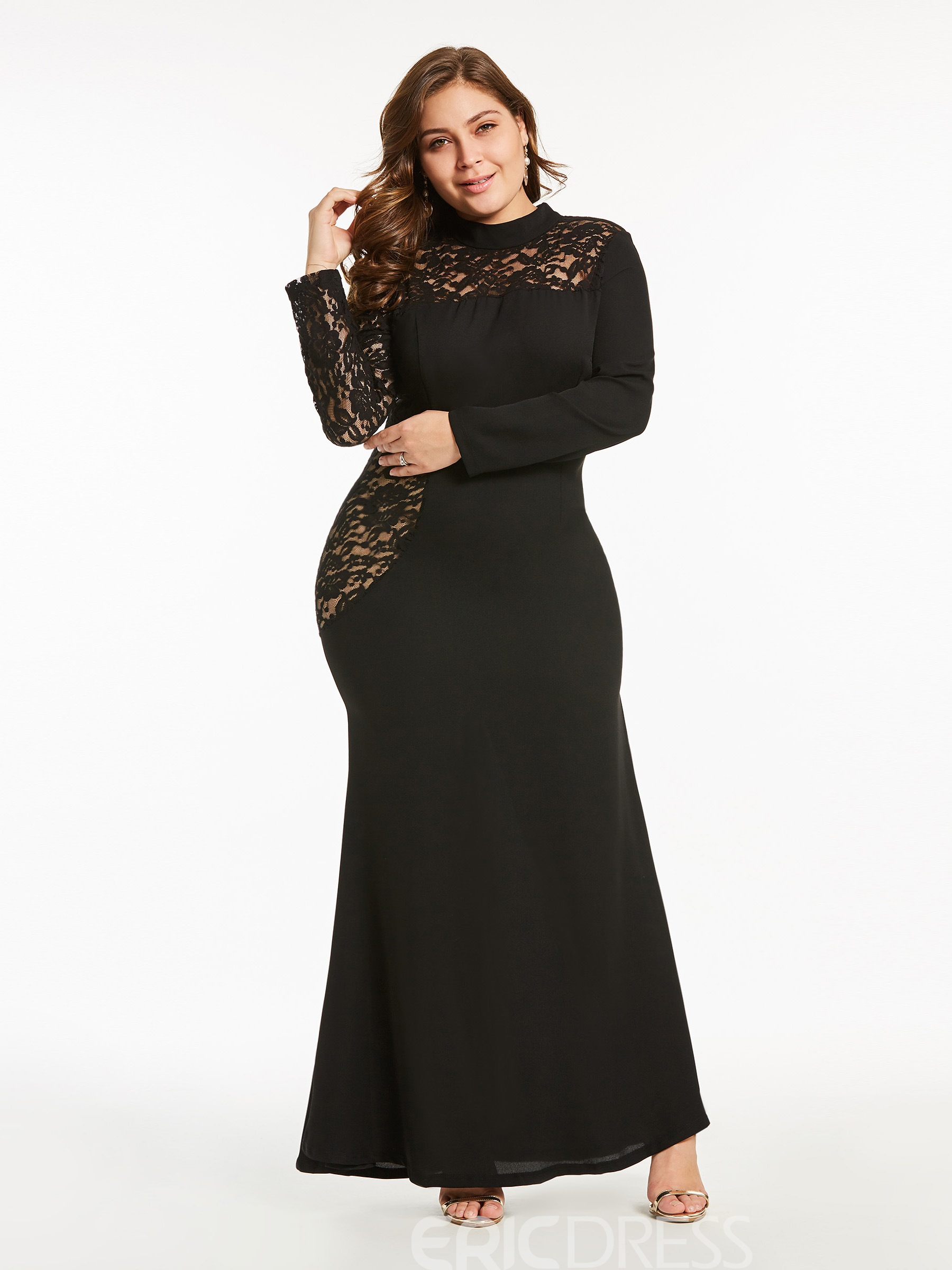 Ericdress Plus Size See Through Scoop Plain Lace Womens Maxi Dress