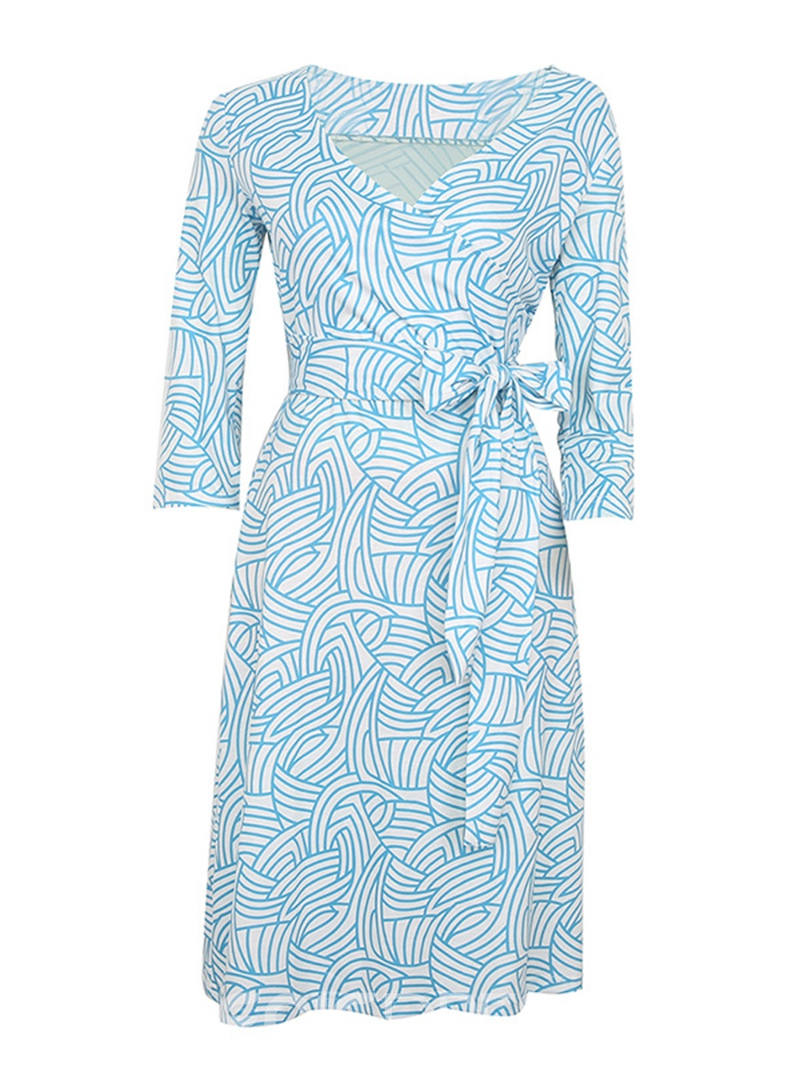 Ericdress Blue V-Neck Print Pullover A-Line Dress