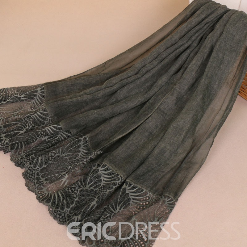 Ericdress Cotton Lace Plain Scarf