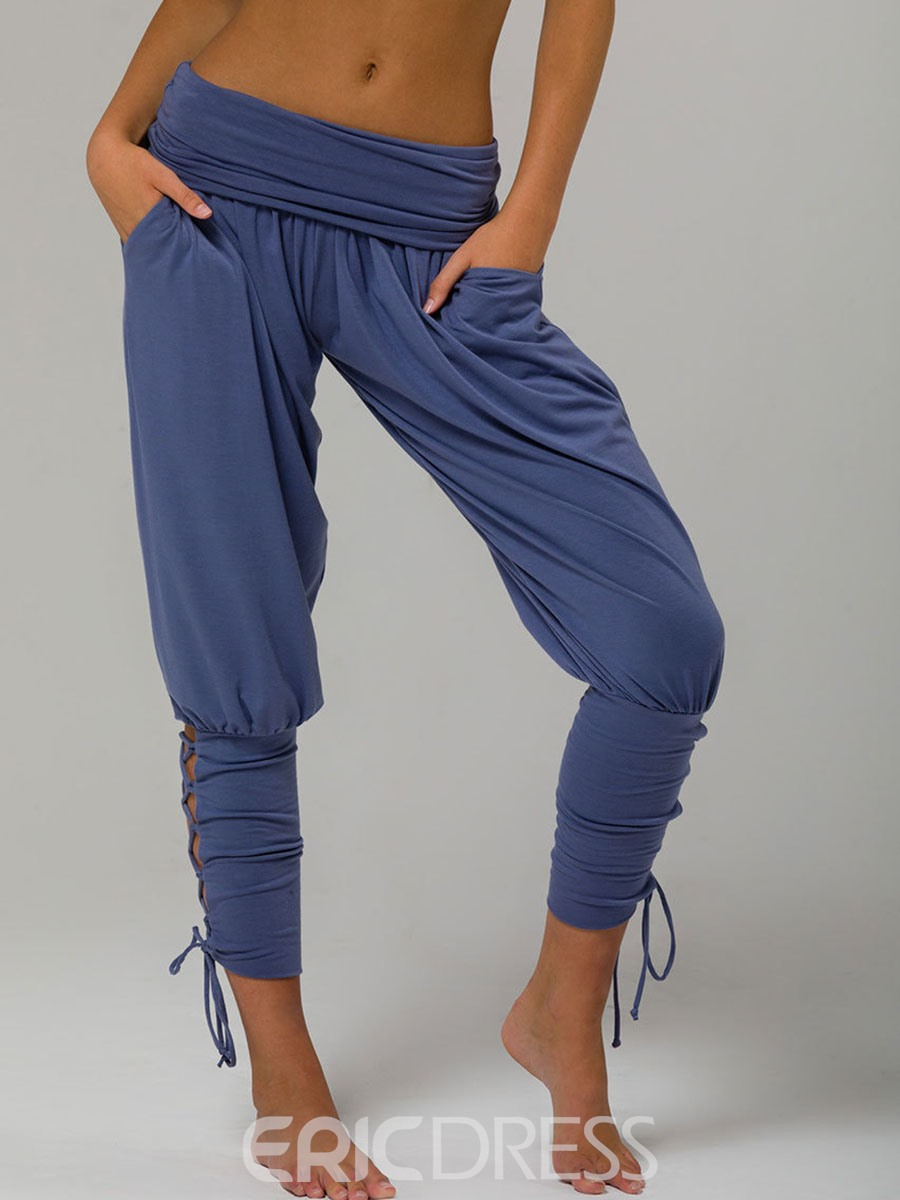 Ericdress Loose Ankle Length Lace-Up Women's Pants