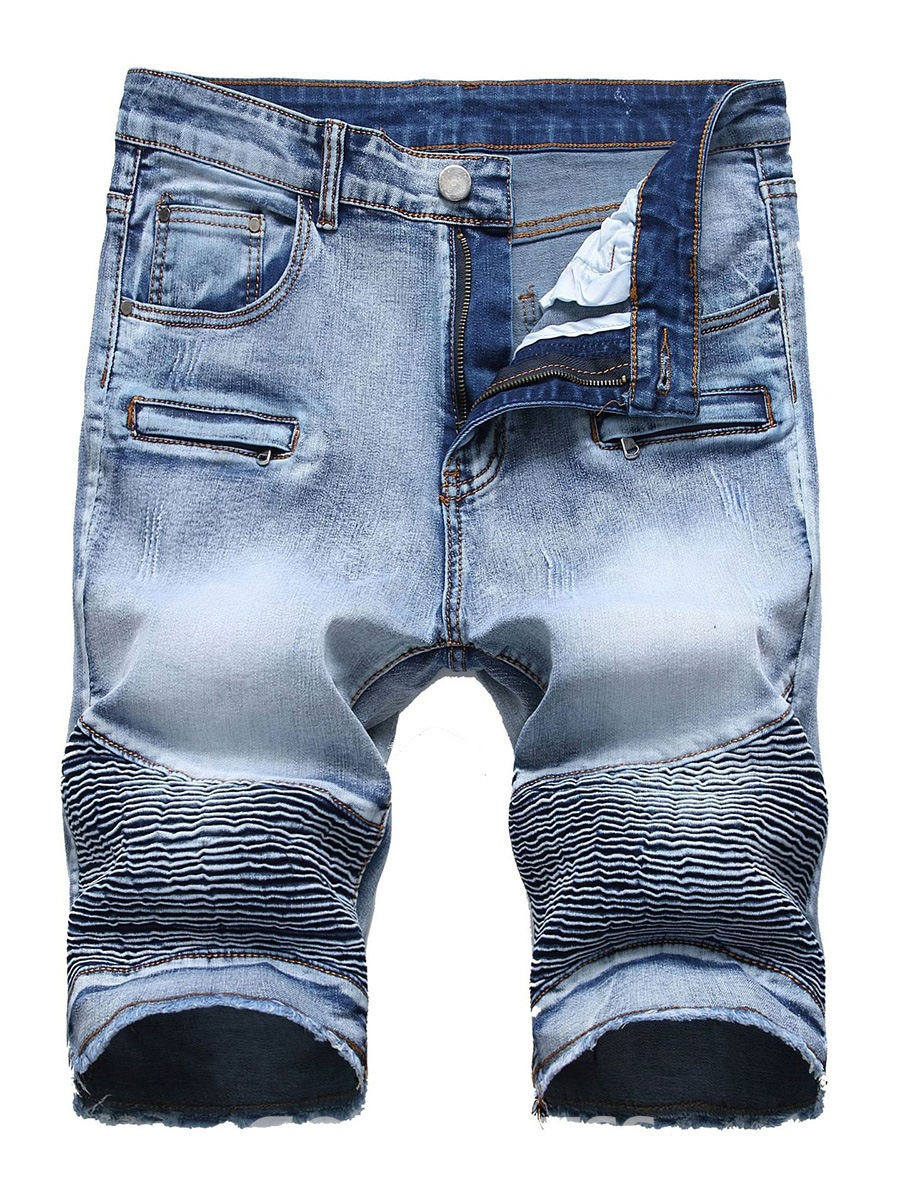 Ericdress Pleated Worn Zip Designed Mens Ripped Shorts