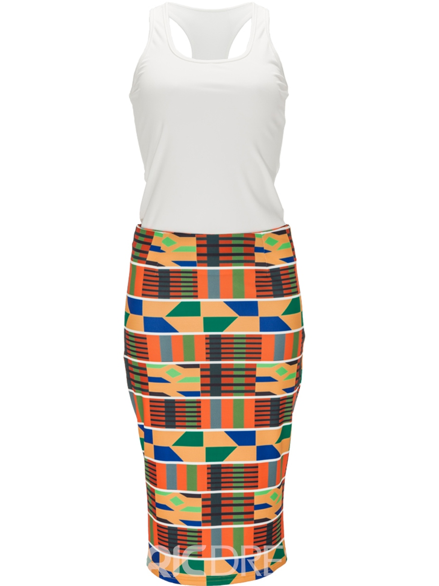 Ericdress Vest and Print Skirt Women's Two Piece Set