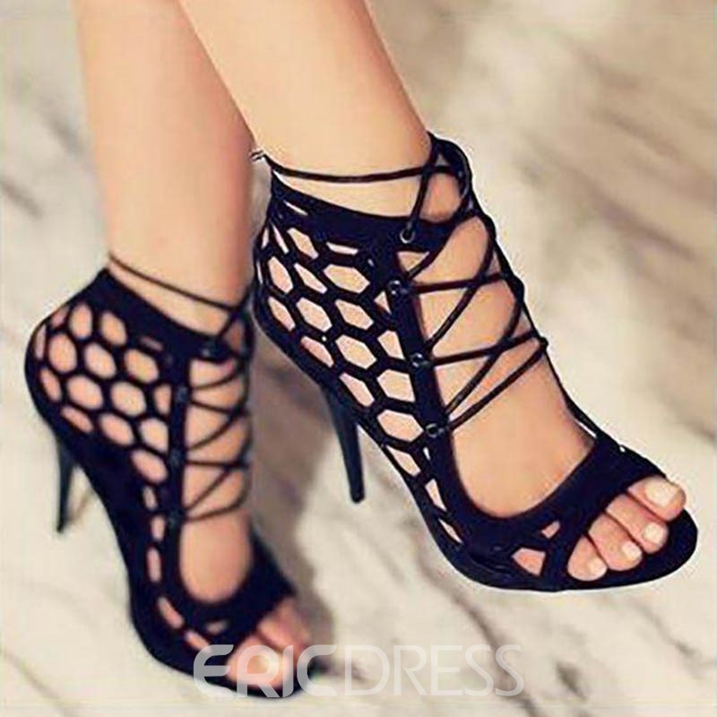 Ericdress Lace-Up Heel Covering Stiletto Sandals