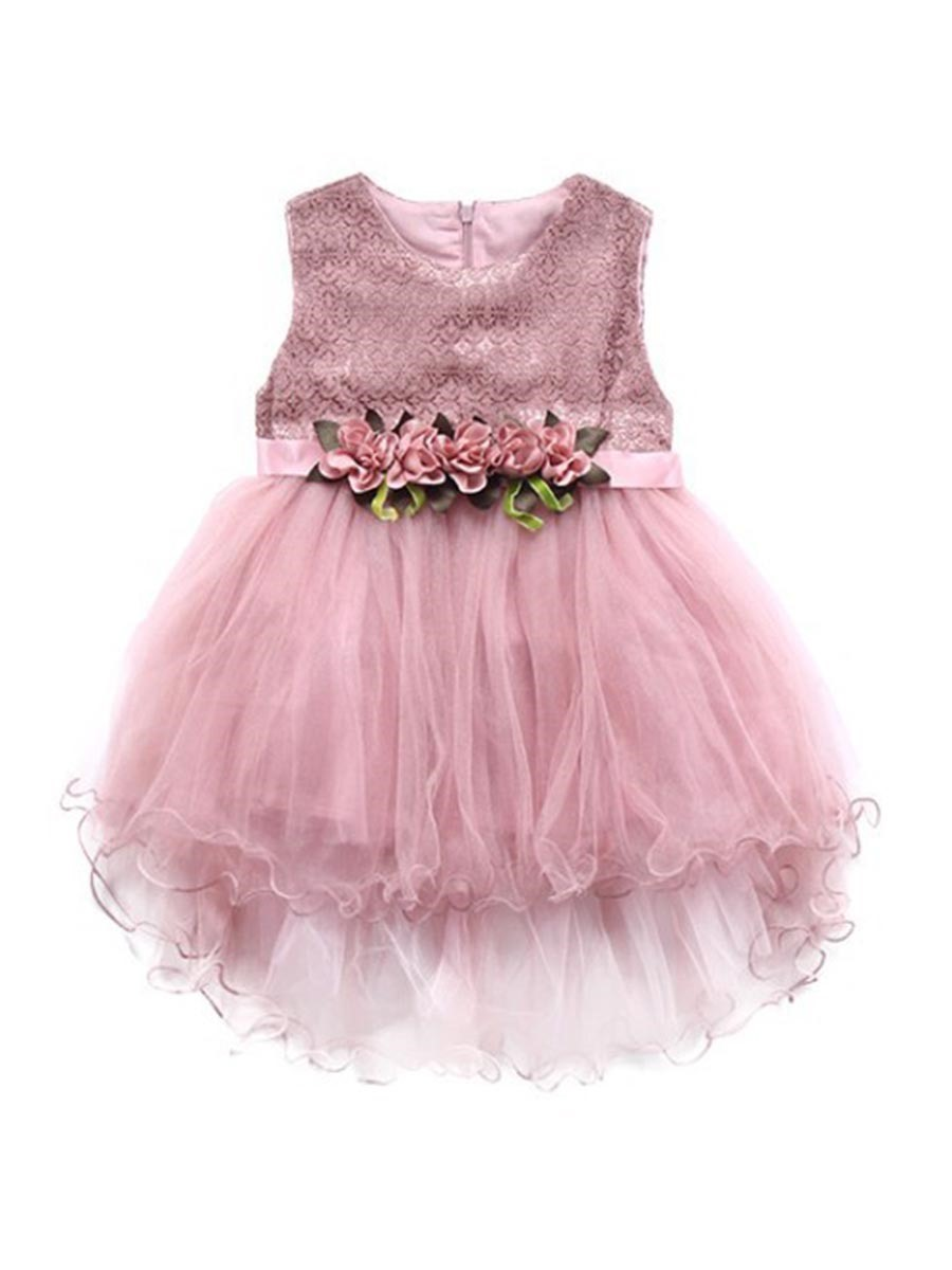 Ericdress Mesh Floral Asymmetrical Girl's Princess Dress