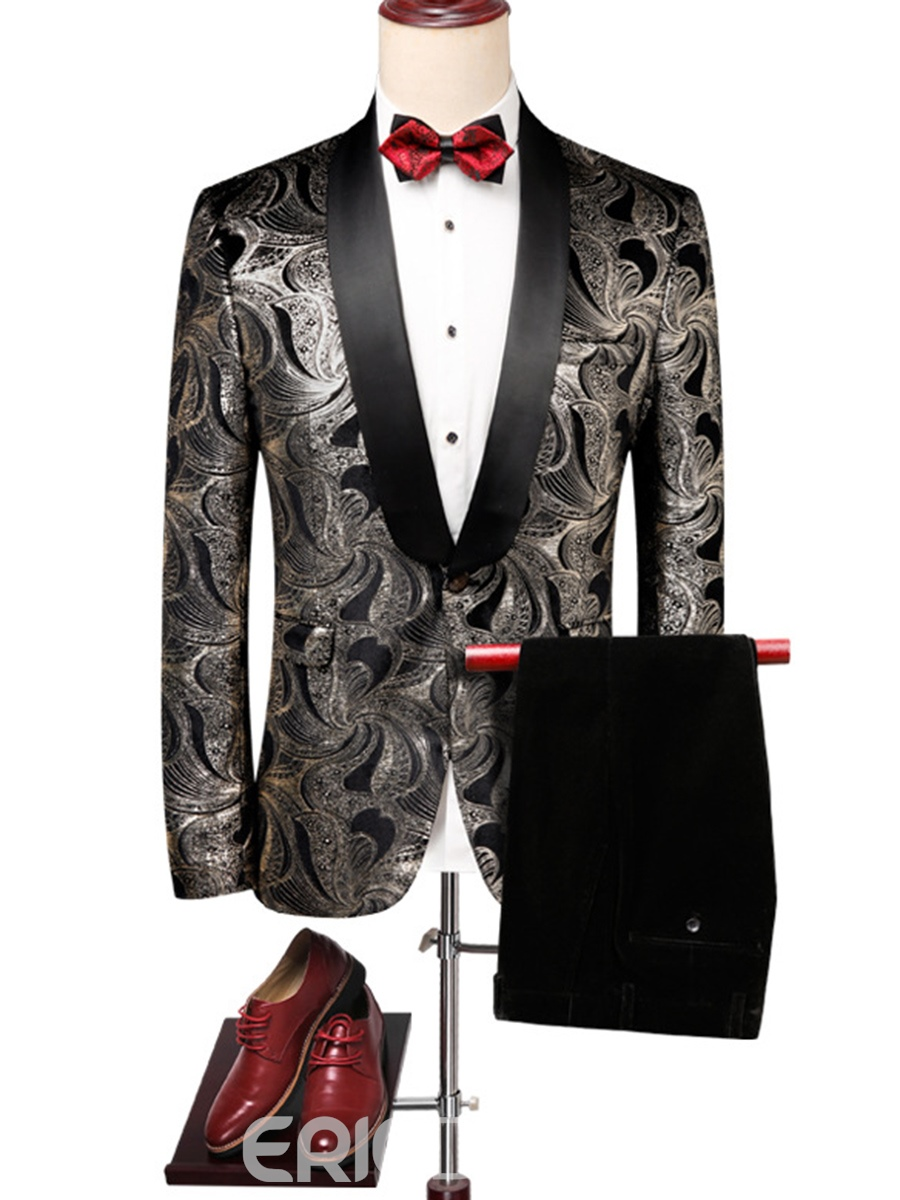 Ericdress Print Blazer Pants Mens Wedding Ball Suits