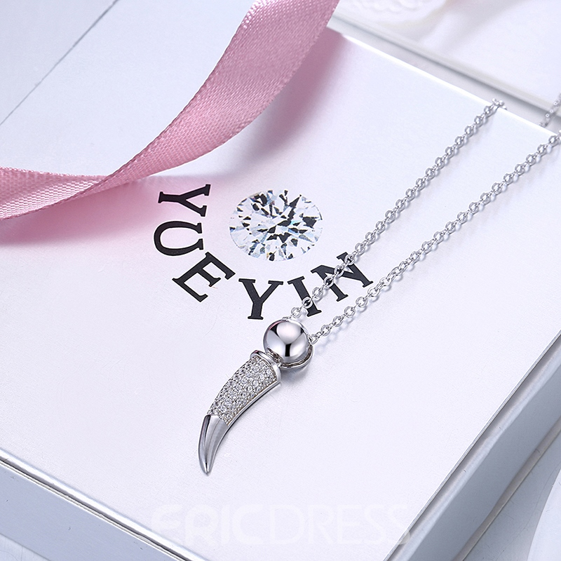 Ericdress Ox Horn Silver Necklace