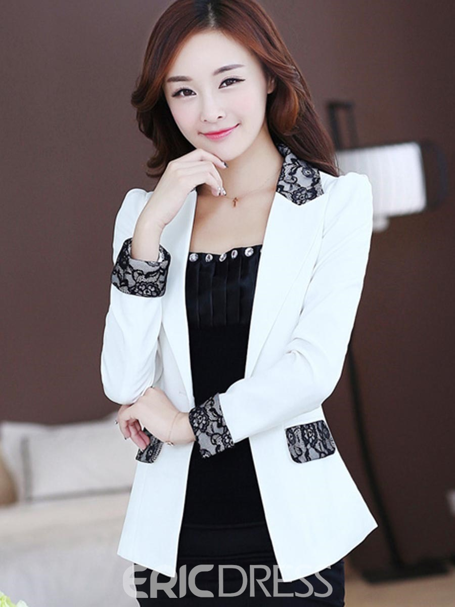 Ericdress Women's Lace Patchwork One Button Blazer