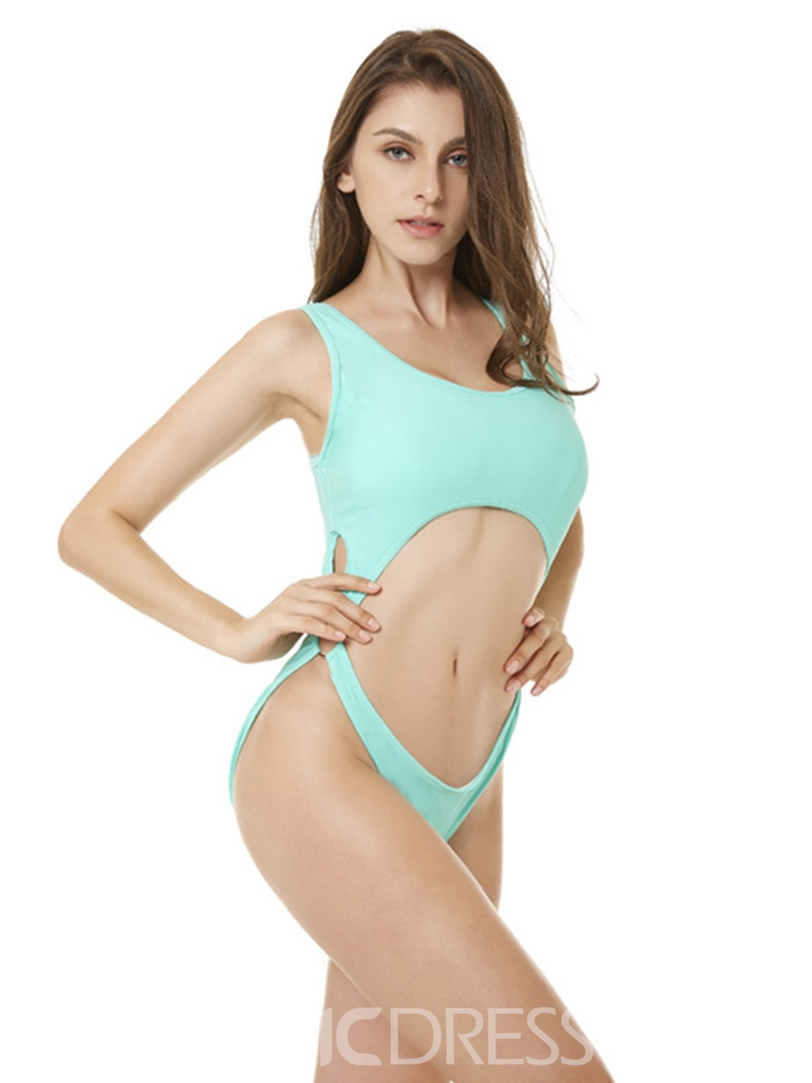 Ericdress Lake Green Hollow Plain Sexy One Piece Bathing Suits