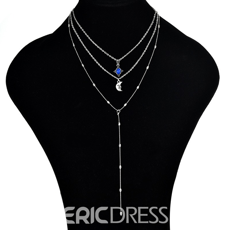 Ericdress Multilayer Moon Charm Necklace