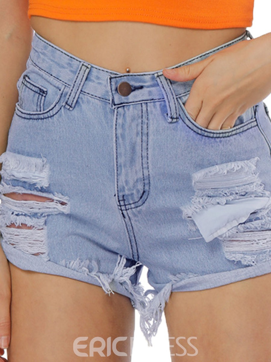 Ericdress Ripped Mid-Waist Women's Denim Shorts