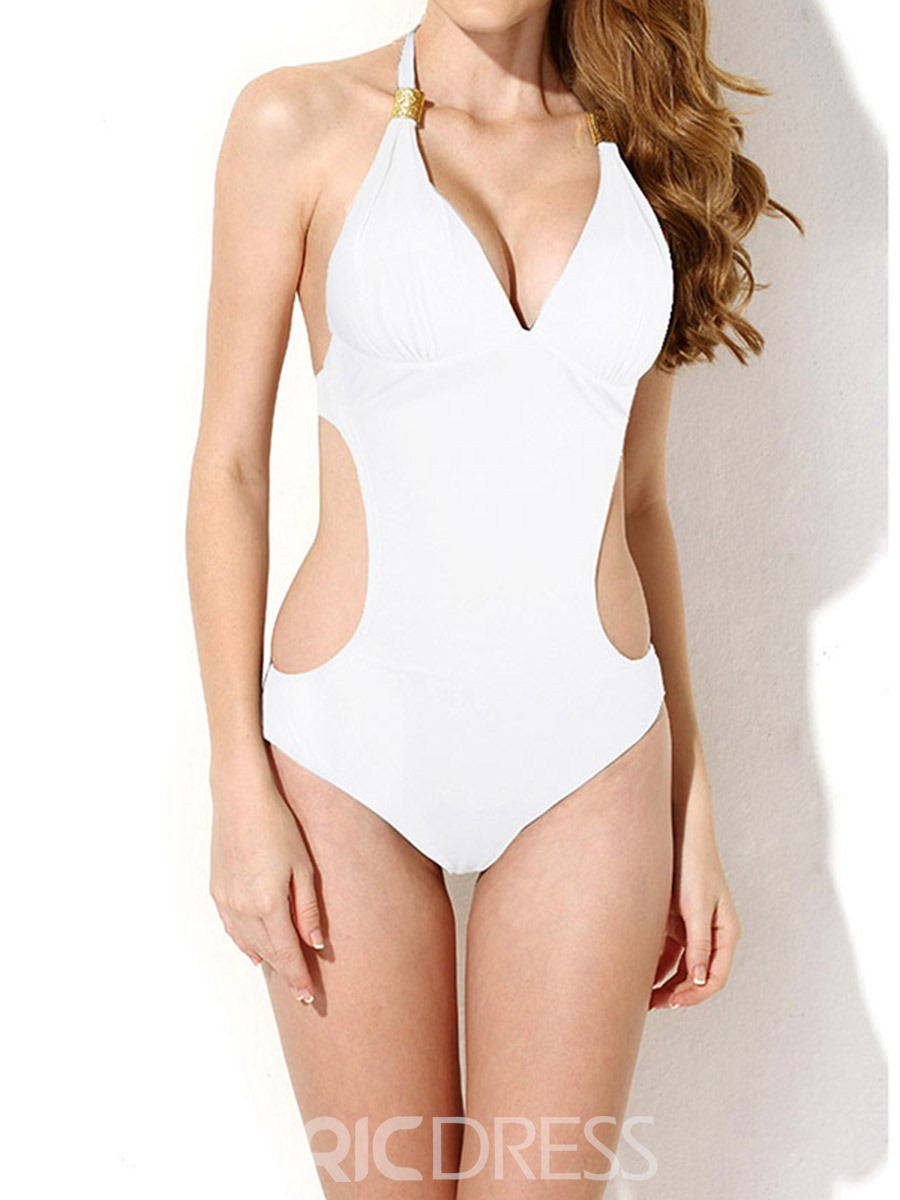 Ericdress Halter Plain Hollow One Piece Bathing Suits