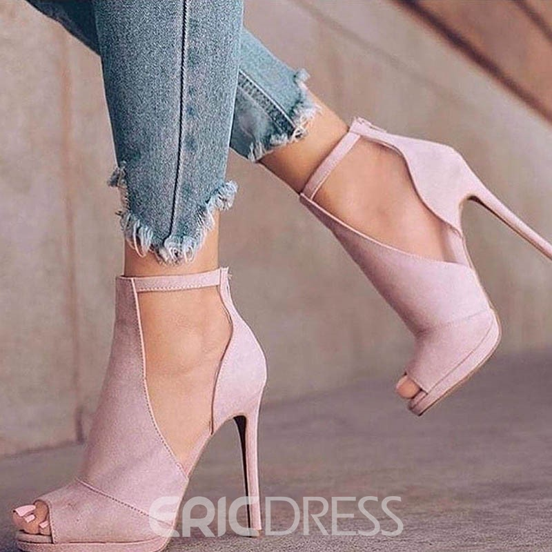 EricdressSuede Plain Peep Toe Stiletto Heel Pumps