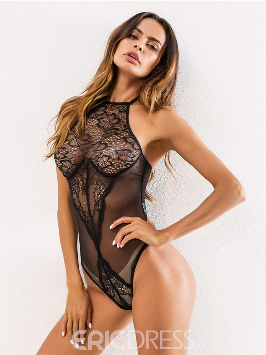 Ericdress Floral Halter See-Through Teddy Bodysuit