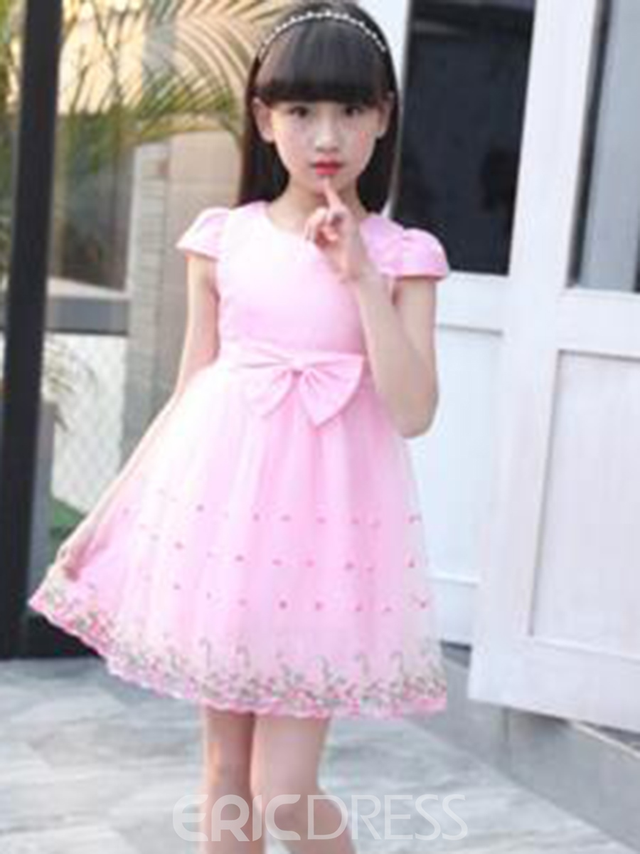 Ericdress Mesh Lace Up Patchwork A-Line Girl's Princess Dress