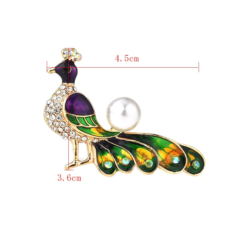Ericdress Peacock Pearl Brooch Pins