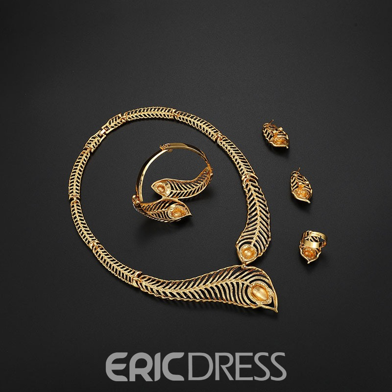 Ericdress Hollow Out Feather Jewelry Set