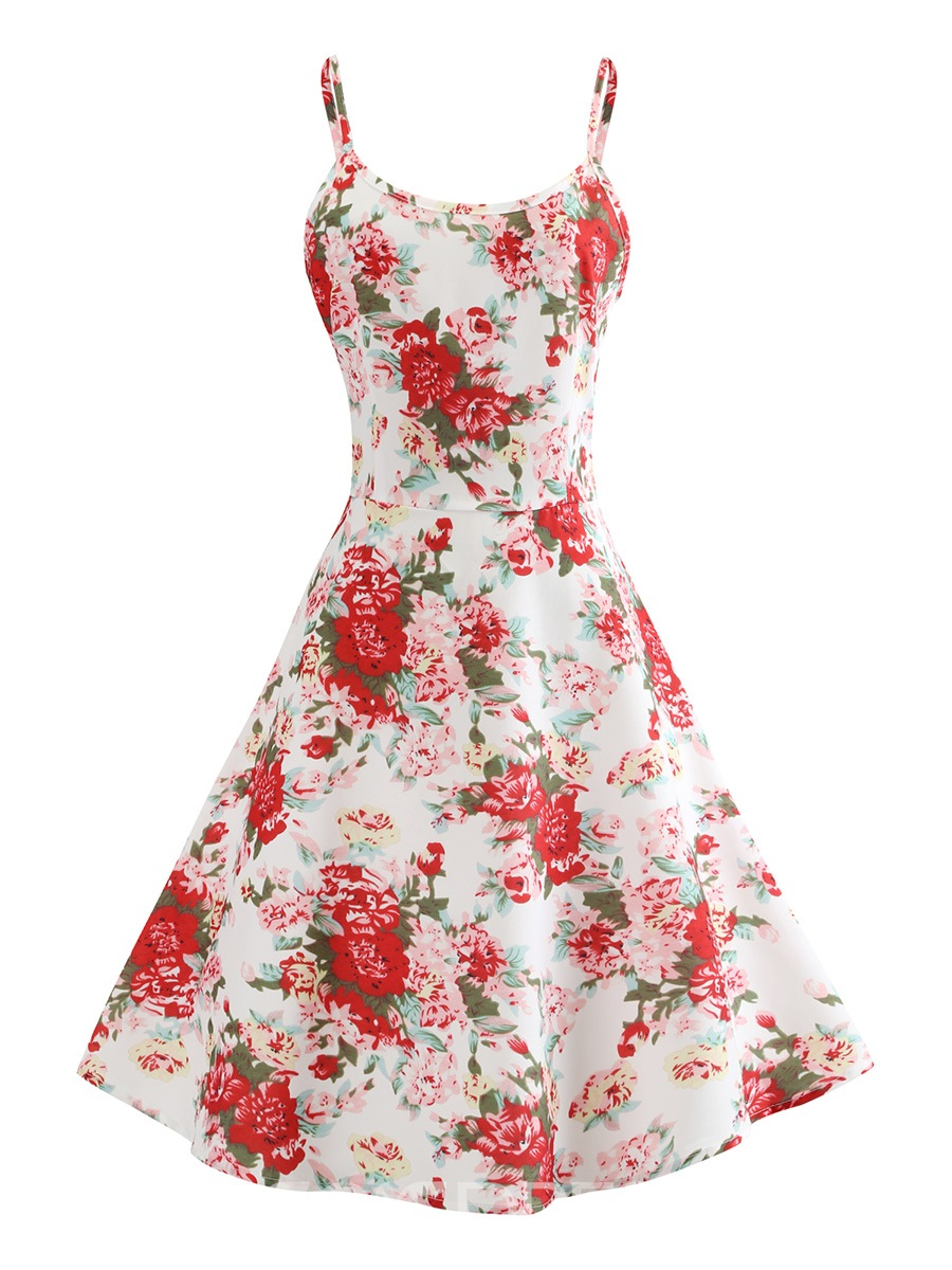 Ericdress Red Floral Trumpet Knee-Length A-Line Dress