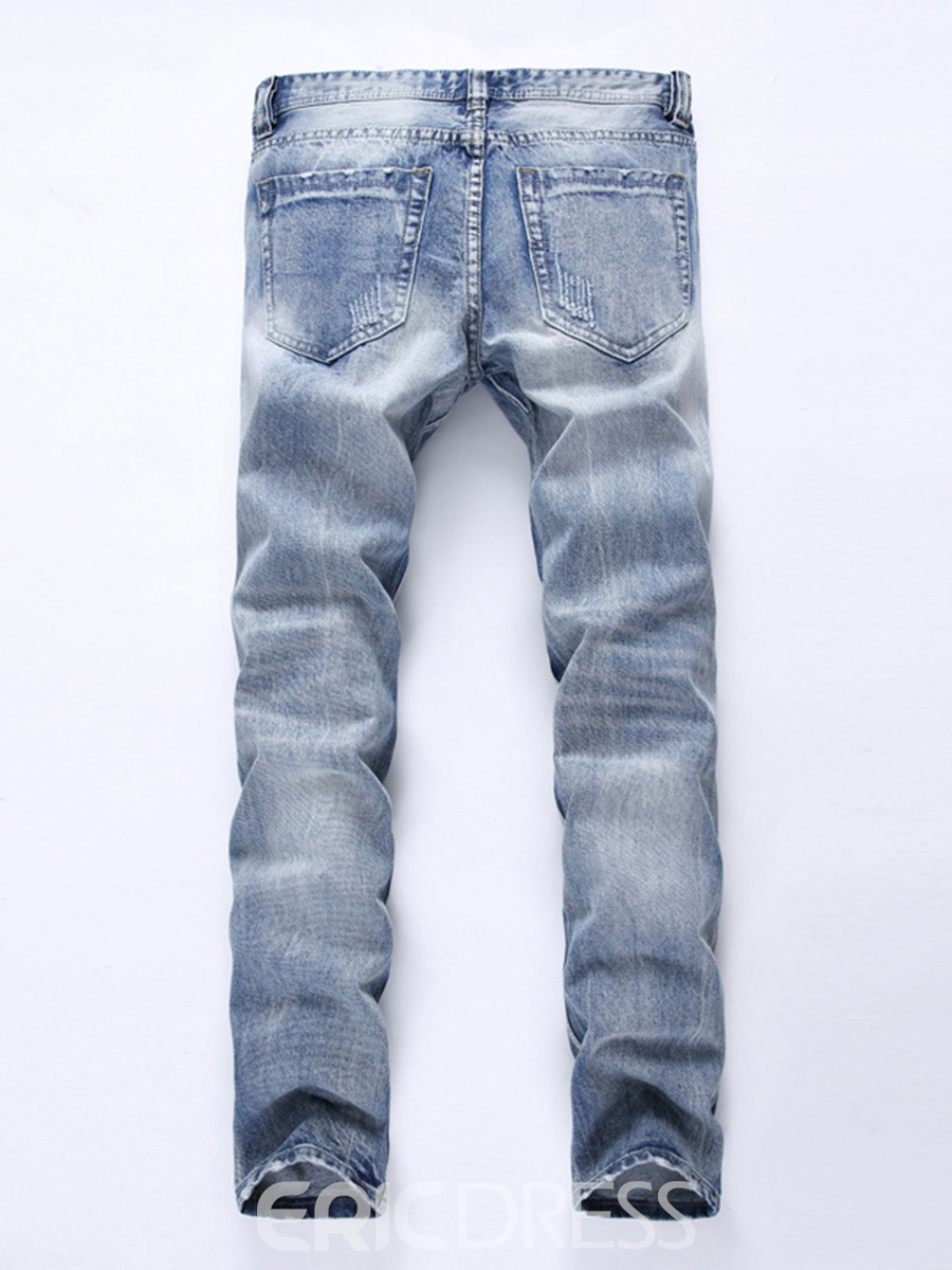 Ericdress Light Blue Straight Mens Casual Ripped Jeans