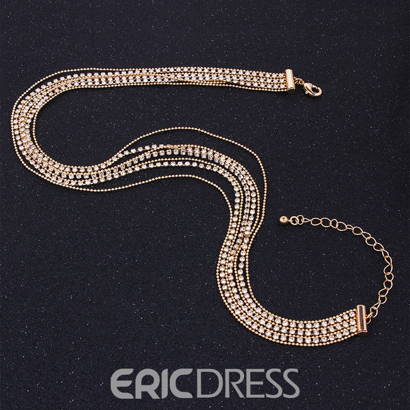 Ericdress Multilayer Diamante Necklace