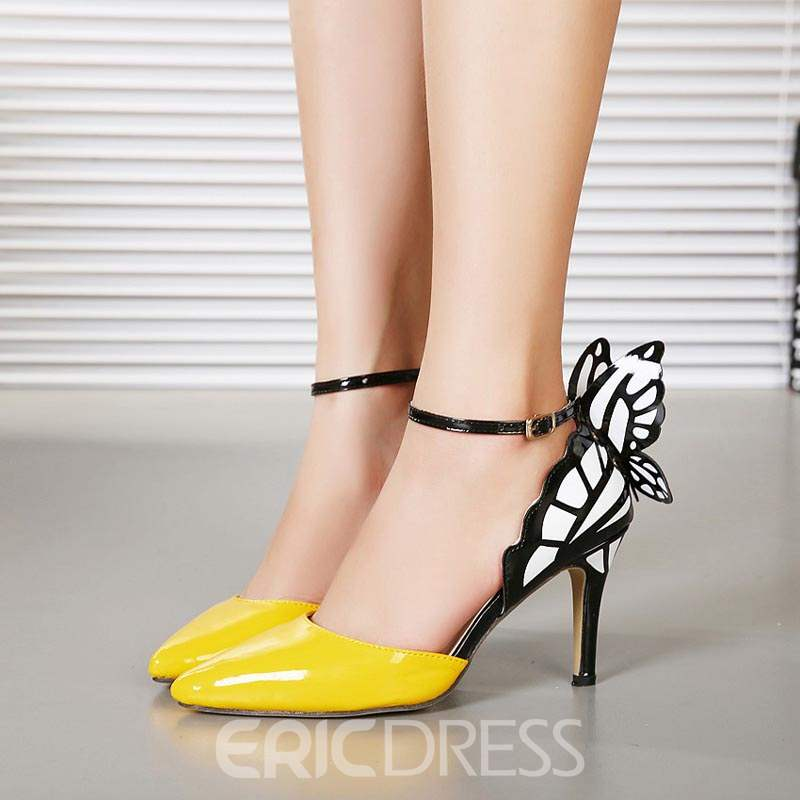 Ericdress Appliques Color Block Stiletto Heel Pumps