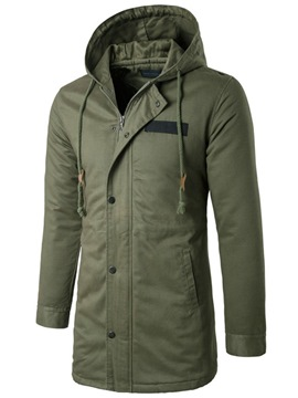 Ericdress Plain Hooded Mid-Length Slim Mens Trench Coat