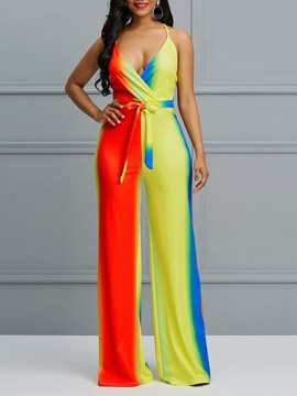Ericdress Spaghetti Straps Color Block Wide Legs Women's Jumpsuits