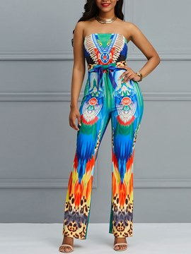 Ericdress Dashiki Off Shoulder Print Women's Jumpsuits