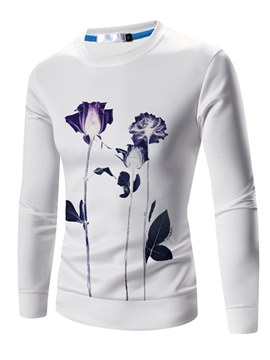 Ericdress Floral Printed Pullover Slim Mens Scoop Sweatshirts