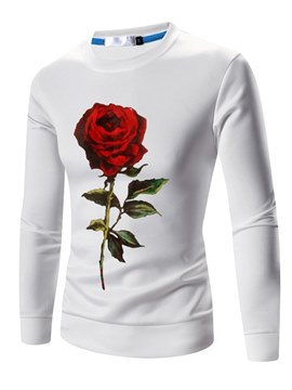 Ericdress Rose Floral Printed Slim Pullover Mens Casual Sweatshirt