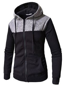 Ericdress Patchwork Hooded Slim Zipper Cardigan Mens Casual Hoodies