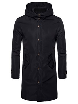 Ericdress Plain Hooded Button Mid-Length Zipper Mens Trench Coat