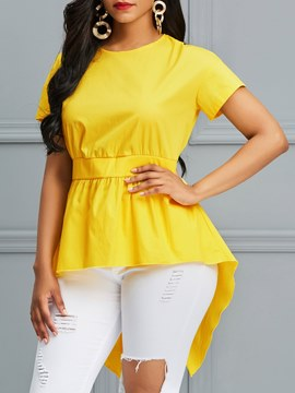 Ericdress Asymmetric Tunic Mid-Length Short Sleeve Blouse
