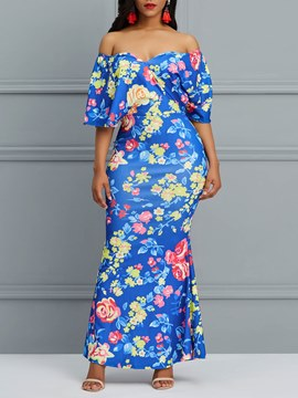Ericdress Bodycon Print Off the Shoulder Women's Dress