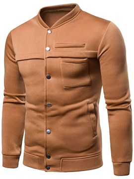 Ericdress Plain Stand Collar Single Breasted Mens Casual Jacket