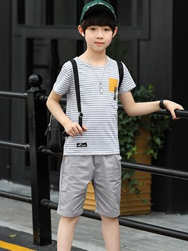 Ericdress Stripped T Shirts & Shorts Boy's Casual Outfits