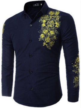 Ericdress Classic Flower Print Men's Shirt