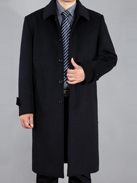Ericdress Plain Slim Lapel Mid-Length Mens Thick Wool Coats