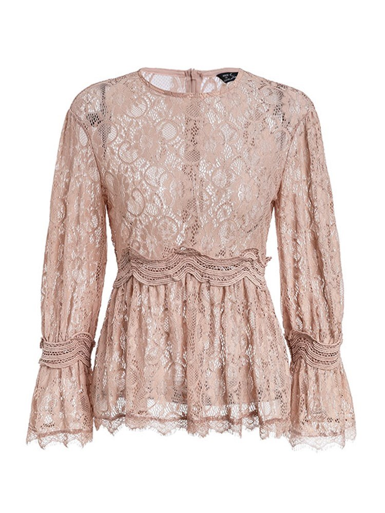 Ericdress Lace Solid Color Ruffles Tunic Long Sleeve Blouse