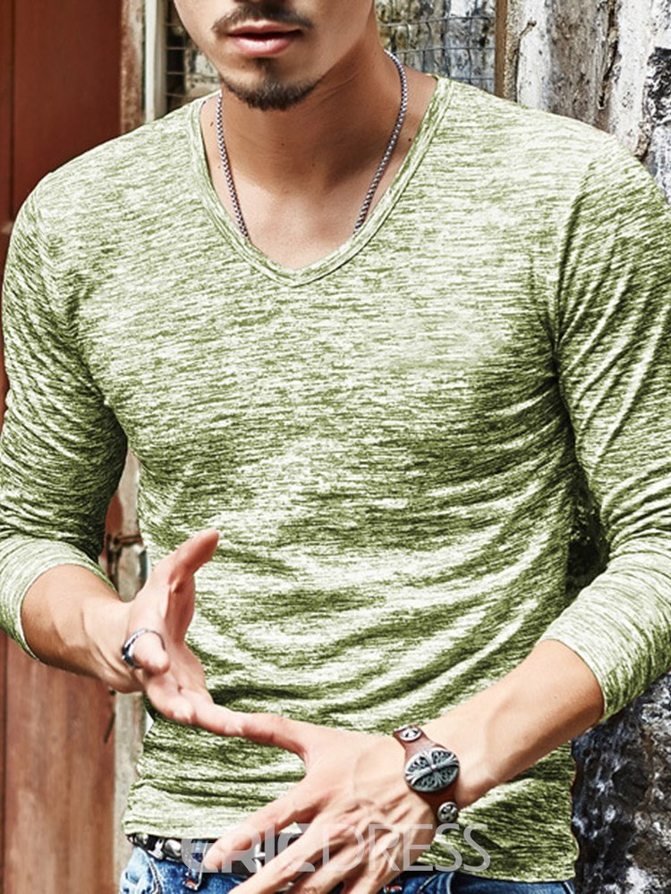 Ericdress V-Neck Slim Fit Plain Mens Casual T Shirts