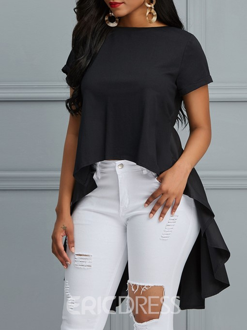 Ericdress Plain Asymmetric Tunic Short Sleeve T-shirt