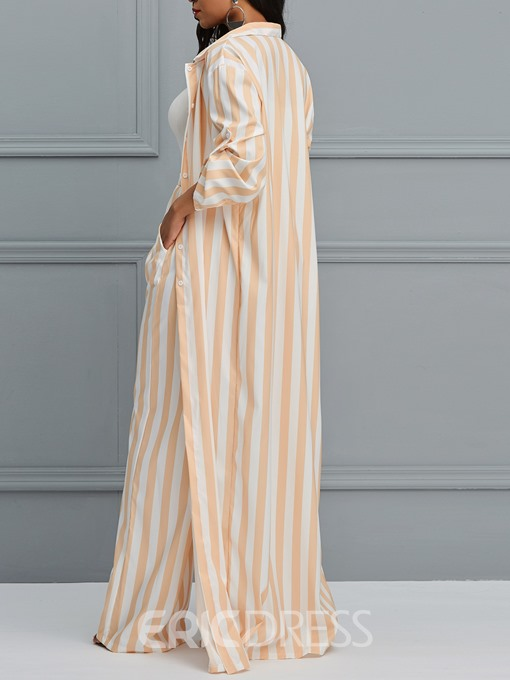 Ericdress Striped Pocket Wide Legs Pants and Trench Coat Women's Two Piece Set