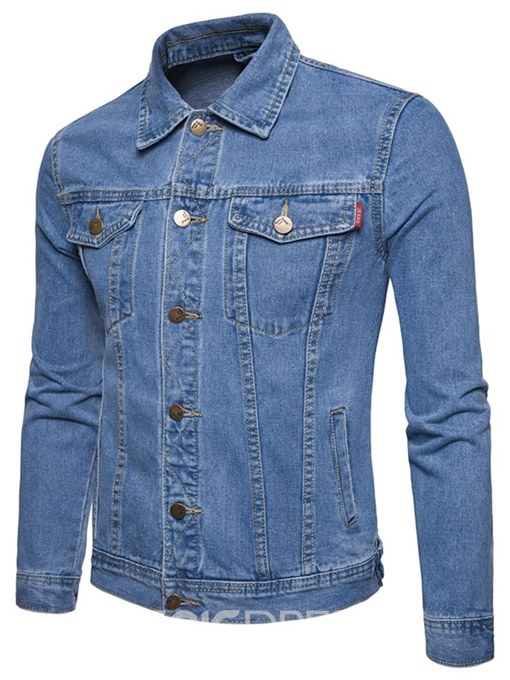 Ericdress Plain Lapel Thin Single Breasted Mens Denim Jacket