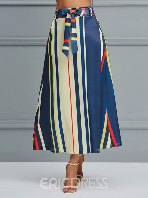 Ericdress Stripe Color Block A-Line Women's Skirt
