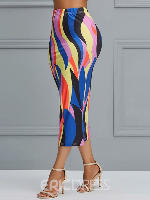 Ericdress Color Block Geometric Bodycon Women's Skirts
