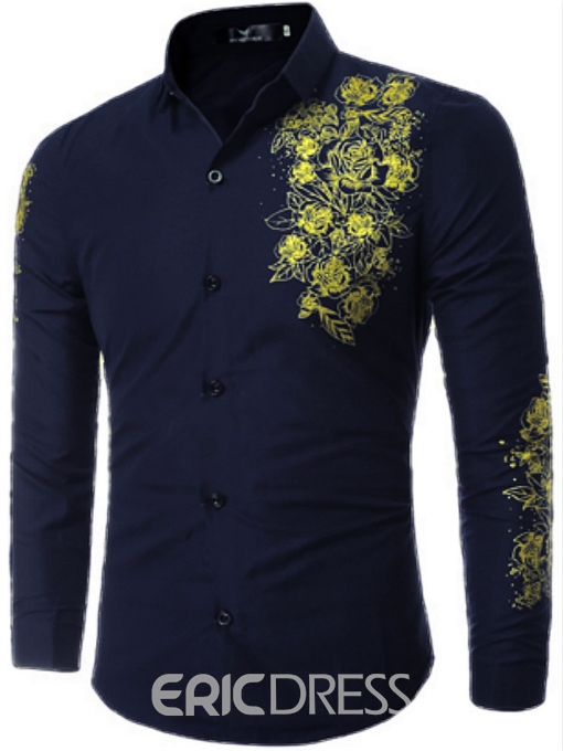 Ericdress Classic Flower Print Long Sleeve Men's Shirt
