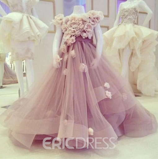 Ericdress 3D Floral One Shoulder Flower Girl Dress