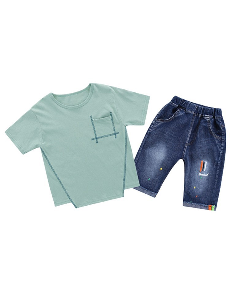 Ericdress Asymmetric Plain T Shirts & Denim Shorts Boy's Casual Outfits